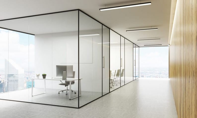 glass office partitions with black aluminium frame installed in Sydney office