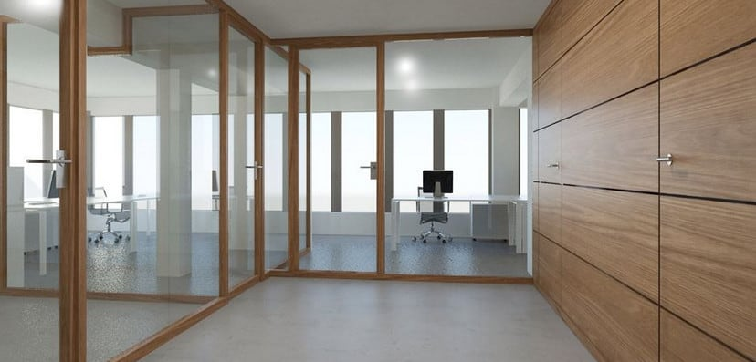 wood and glass framed partitions in Sydney